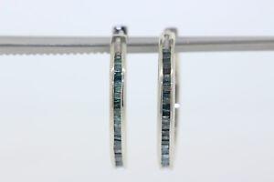 Sterling Silver .50ct Baguette Blue Diamond 22mm Hoop Earrings