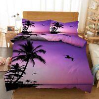 Purple Sky Lake 3D Printing Duvet Quilt Doona Covers Pillow Case Bedding Sets