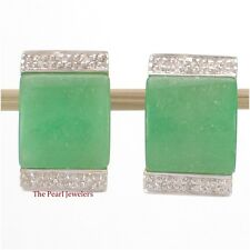 14k Yellow Solid Gold Omega Clip, Diamond & Cabochon Green Jade Post Earring TPJ