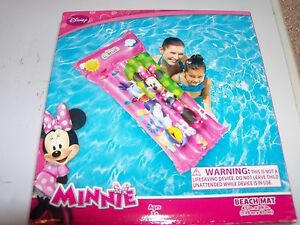 """Disney Minnie Mouse Beach Mat 47"""" x 24"""" Pool Float with Repair Patch. Fast Ship!"""