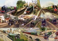 Gift Wrapping Paper: Glory Days of Steam Engines Train Stations Locomotives Loco