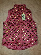Simply Southern Large Quilted Puffer Vest Pink Gold Elephant NWT Sleeveless