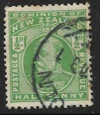 NEW ZEALAND 1909 KING EDWARD VII ½d Half Penny GREEN USED (No 2)
