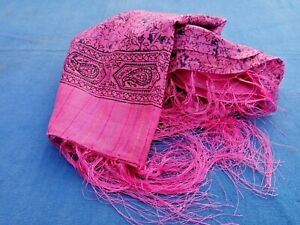 """PINK INDIAN 100% COTTON & LUREX THREAD PATTERNED FRINGED SHAWL 40""""x40"""" £7.50 NWT"""