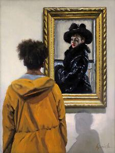 KJurick Original Oil/Woman Views Portrait by James Tissot, Met Museum NYC