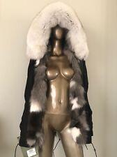 $5500 Mr & Mrs Italy Black Multicolor Fox Fur Lined Parka M