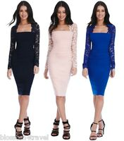 Goddess Long Lace Sleeve Bengaline Wiggle Bodycon Evening Cocktail Party Dress