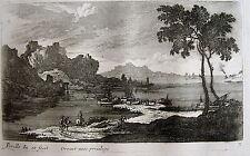 PERELLE , EAU FORTE ORIGINALE FIN 17 ÈME, DREVET.Collection petits paysages.(15)