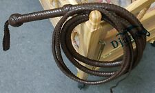 12 Feet 12 Plait Chocolate Brown Real Top Grain Leather Whip Heavy Duty Bullwhip