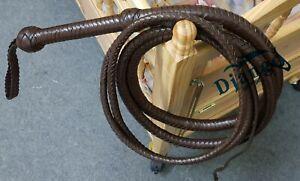 12 Feet 12 Plait Chocolate Brown Real Top Grain Leather Whip Heavy Duty Bullwhip