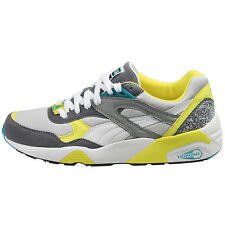 Puma Trinomic R698 Mens 357837-09 Grey Yellow Athletic Running Shoes Size 9