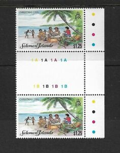 1995 Solomon Islands - Christmas Issue - Gutter Pair  - Unmounted Mint.