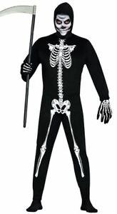 Mens Skeleton Costume Bones Jumpsuit Halloween Horror Adults Fancy Dress Outfit