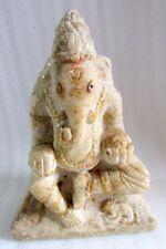 1890's Antique Old White Marble Hindu God Ganesha Big Size Stone Figure Statue