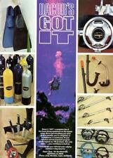 1970 Dacor Print Ad Scuba Diver Equipment Fins Mask Snorkel Knife Tank Regulator