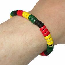 Rasta Colour Wood Bead Bracelet Wristband Bangle Mens Womens Reggae Jewellery