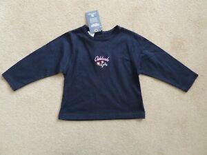 Girls Oshkosh Navy Blue Cotton Jersey Long Sleeve T-Shirt Top 18 Months 83cm NEW