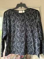 Liz Claiborne Womens Velour Top Size 1X Pullover Long Sleeve Casual Stretch EUC