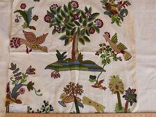 LEE JOFA STEWART TREE 100% WOOL EMBROIDERY TREES FLOWERS BIRDS MULTI COLORS BTY