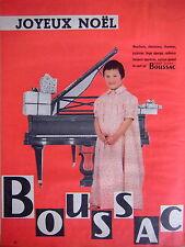 PUBLICITÉ 1956 BOUSSAC JOYEUX NOËL MOUCHOIRS CHEMISIERS CHEMISES PYJAMAS ÉPONGE