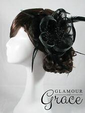 Emilie black fascinator headpiece hat wedding bridal races Derby Melbourne Cup