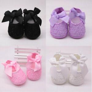 Newborn Baby Girls Shoes Soft Pram Sole Pre-walker Princess Shoes 0-18 Months UK