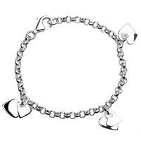 Bettelarmband echt Silber 925 Sterlingsilber rhodiniert Herzen Mädchen Armband