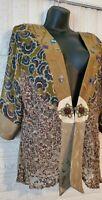 Spencer Alexix Womens Kimono Top Jacket Silk Floral Lace Boho Blouse Size M
