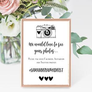 Personalised Vintage A4 Wedding Sign Camera Hashtag Instagram Facebook - Digital