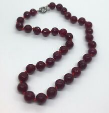 Vintage Necklace Strand Faceted Glass Bead String Knotted Red 18""