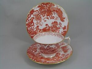 ROYAL CROWN DERBY RED AVES TRIO, CUP & SAUCER & SIDE PLATE.