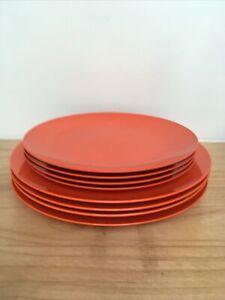 Set Of 8 Vintage Melamine Melaware Orange Plates Picnic Camping 2 diff sizes