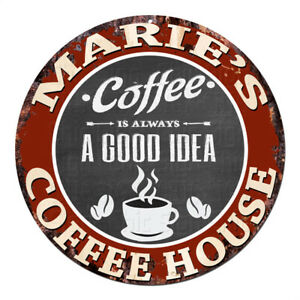 CPCH-0044 MARIE'S COFFEE HOUSE Chic Tin Sign Decor Gift Ideas