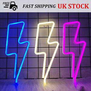 Lightening Bolt Neon Light LED Lightning Shaped Party Night Light Wall Decor