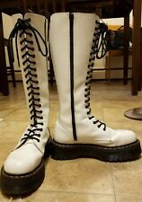 RARE Dr Martens britain 20 eye white leather boots size US 10 EU 42 platform