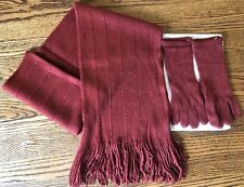 Chadwicks Knitted Red Scarf & Glove Set 100% Acrylic Womens One Size
