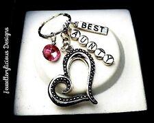 Beautiful BEST Aunty Pink Jewel Love Heart Keyring Key Ring