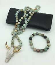 Fashion semi precious Amazonite Stones steer pendant Necklace + 10mm bracelet