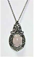 Galilea Rose Quartz Pendant in Silvertone With Stainless Steel Chain 20 Inches