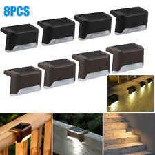 8 Packs Solar Powered LED Deck Lights Outdoor Path Garden Stairs Step Fence Lamp