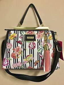NWT Betsey Johnson Floral Satchel Bag Double Entry Rose Print