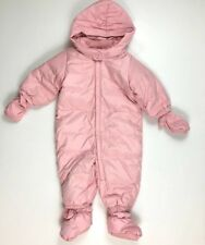 Baby GAP 6-12 M Pink Hooded Down Puffer Winter Snowsuit One-Piece