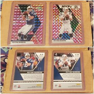 2020 PEYTON MANNING Panini Mosaic 2 Card Lot -- Base + Pink Camo -- Colts GOAT