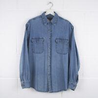 Vintage WRANGLER Blue Long Sleeved Denim Shirt Size Mens Medium /R57052