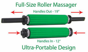 TheraBand Roller Massager, Portable Muscle Roller with Retractable Handles