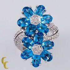 18ct Oro Blanco Topacio Azul&Diamante Anillo con flor tamaño: 5