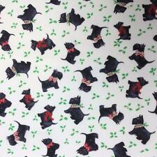 Scottie dogs puppy terrier bow Christmas holly berries cotton fabric 1/2 YARD