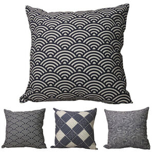 CURCYA Traditional Japanese Fish Scale / Plaid / Sea Wave Cushion Pillow Covers