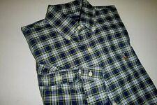 polo ralph lauren mens classic fit cotton knit dress shirt -Med -blue-gray plaid