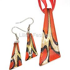 Gold Foil Red Triangle Lampwork Glass Murano Bead Pendant Necklace Earrings Set